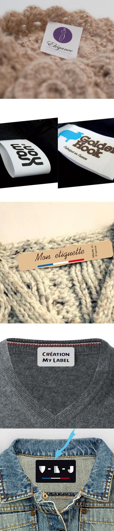 Etiquette personnalisée vêtement à coudre ou thermocollante