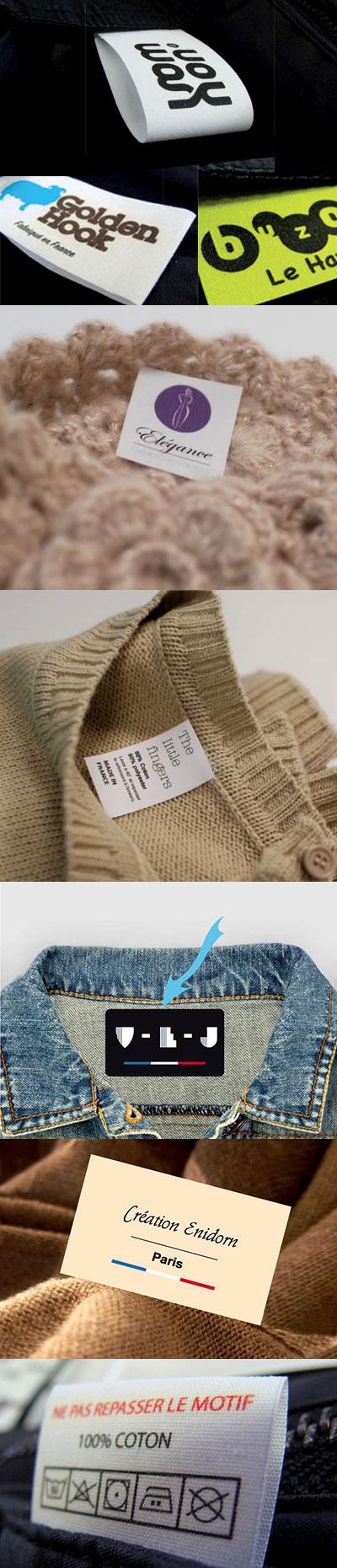 Etiquettes vêtements avec griffe commerciale