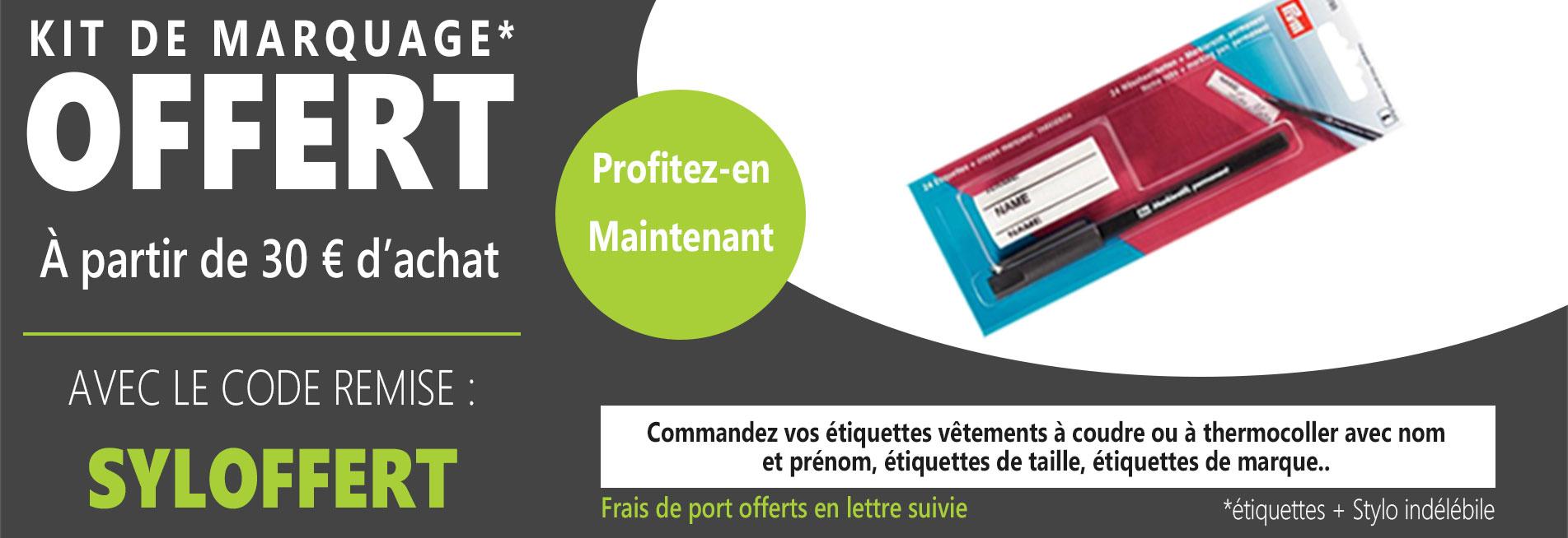 KIT DE MARQUAGE (étiquettes + Stylo indélébile) offert